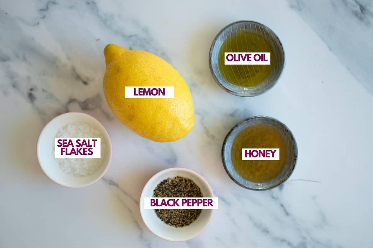 ingredients for honey lemon vinaigrette