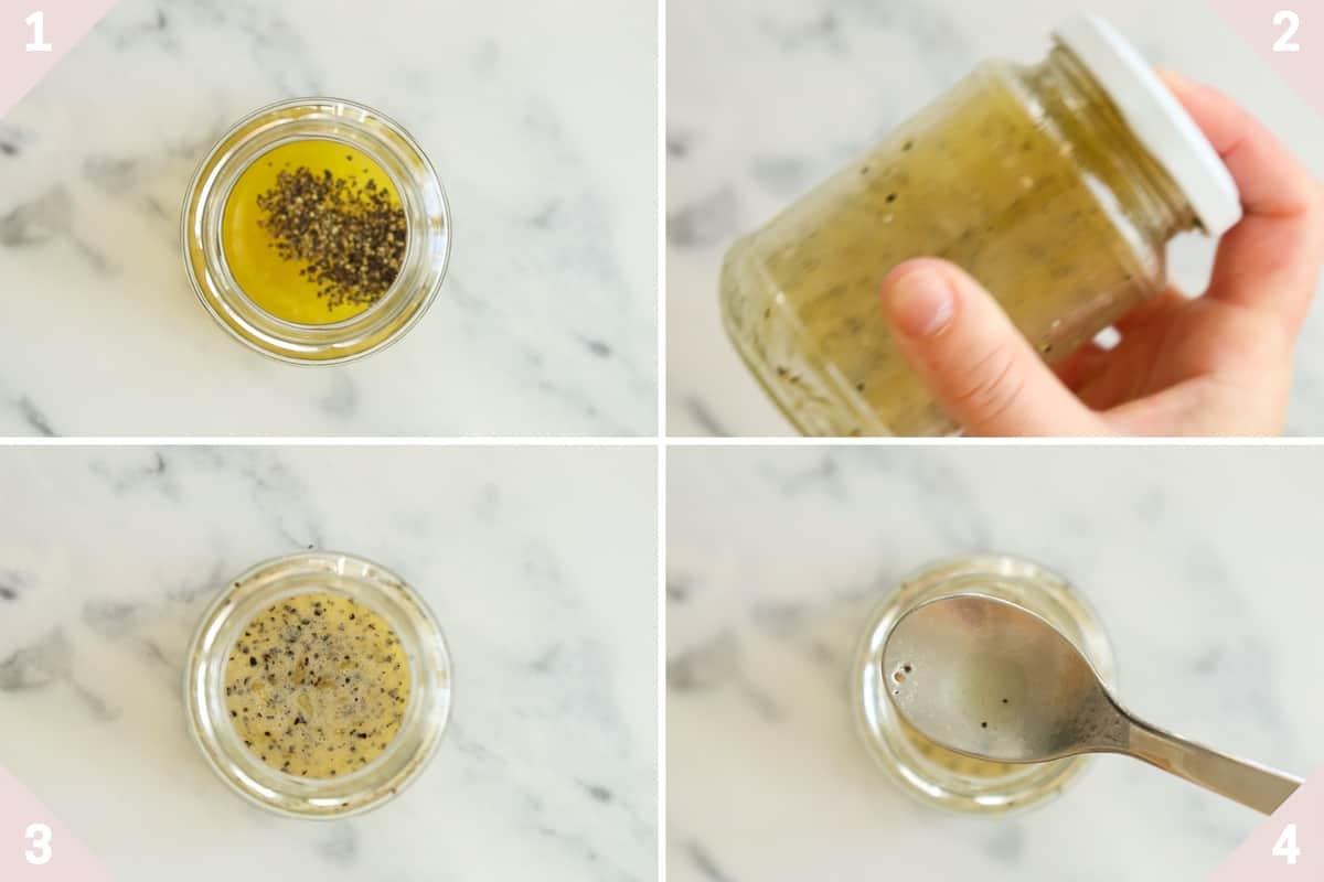 collage showing how to make honey lemon vinaigrette