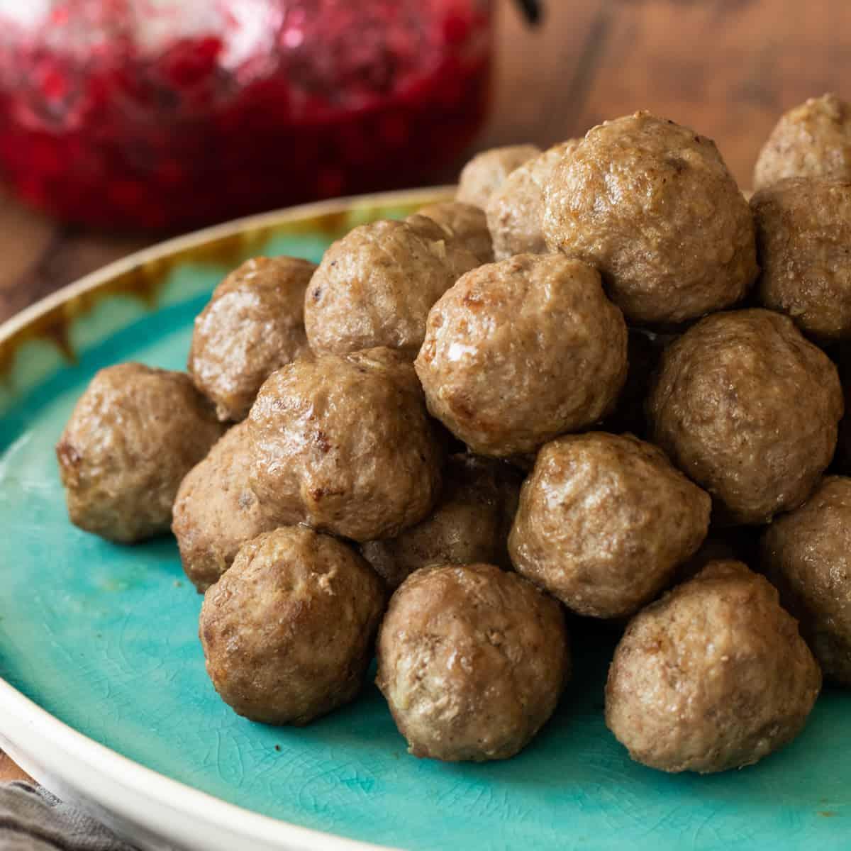 air fryer meatballs on a blue plate