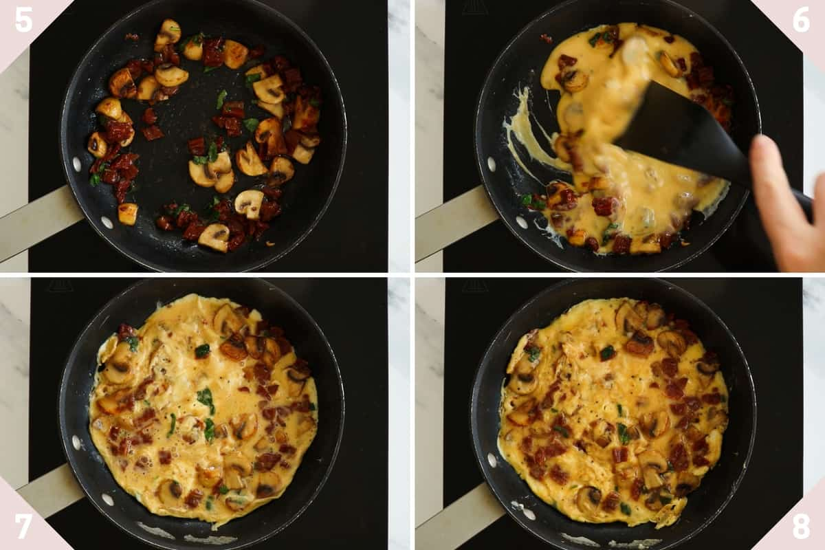collage showing how to make a stovetop frittata