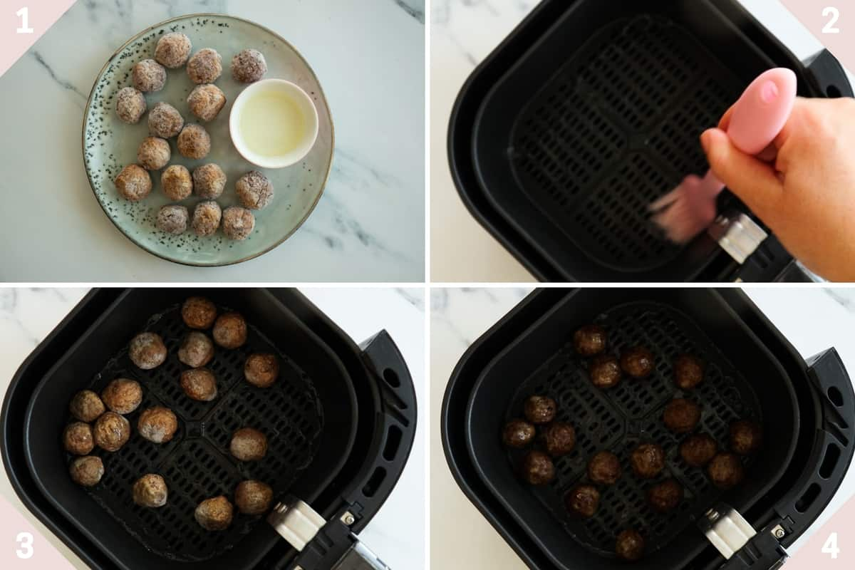 collage showing how to make frozen meatballs in air fryer