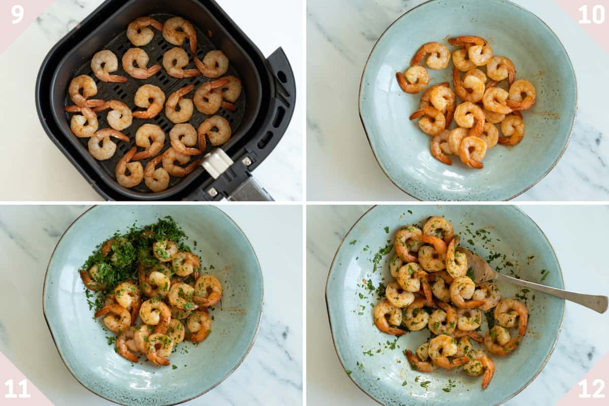 collage showing how to make air fryer frozen shrimp