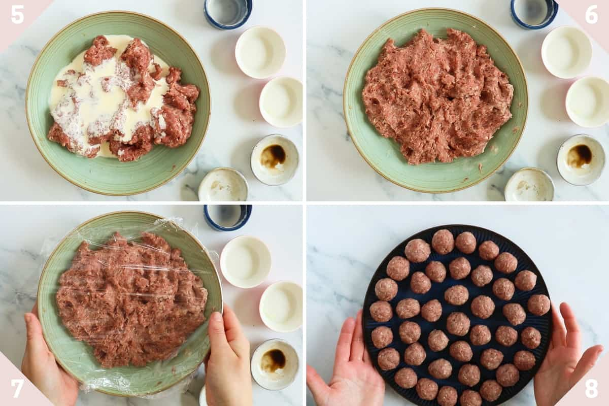 collage showing how to make air fryer meatballs
