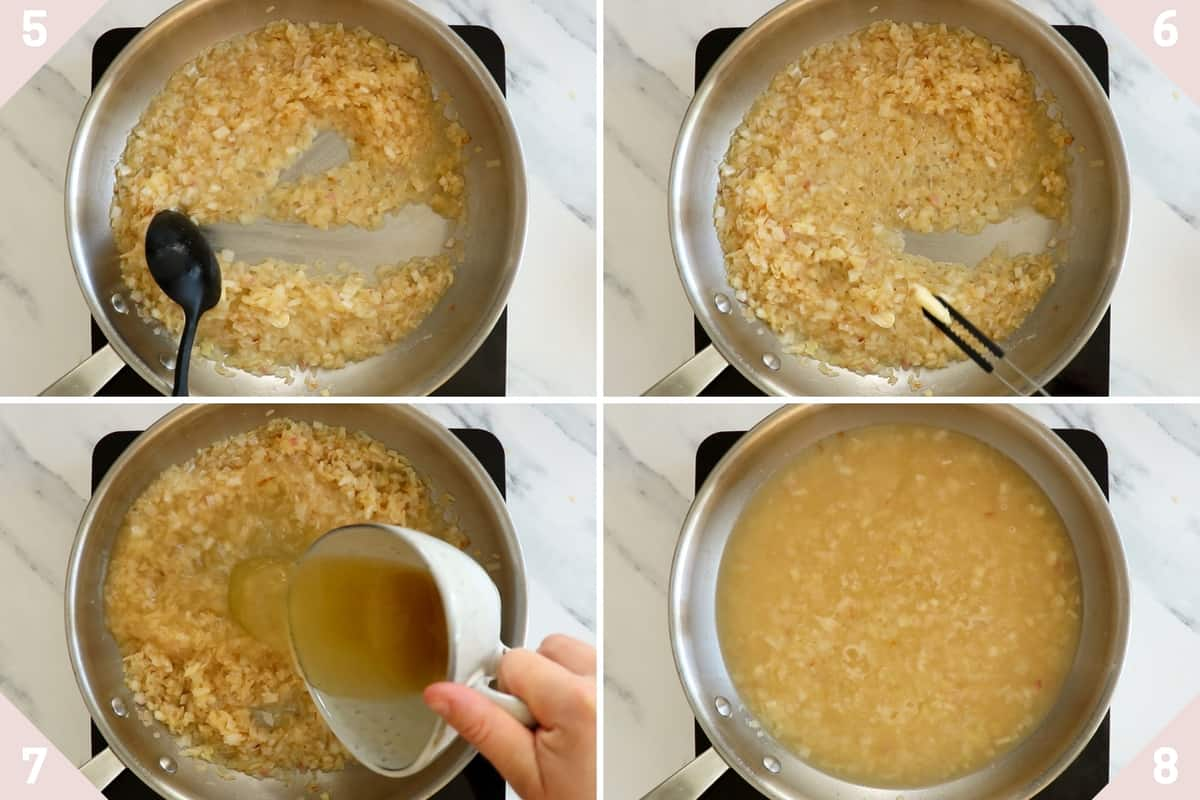 collage showing how to make shrimp risotto