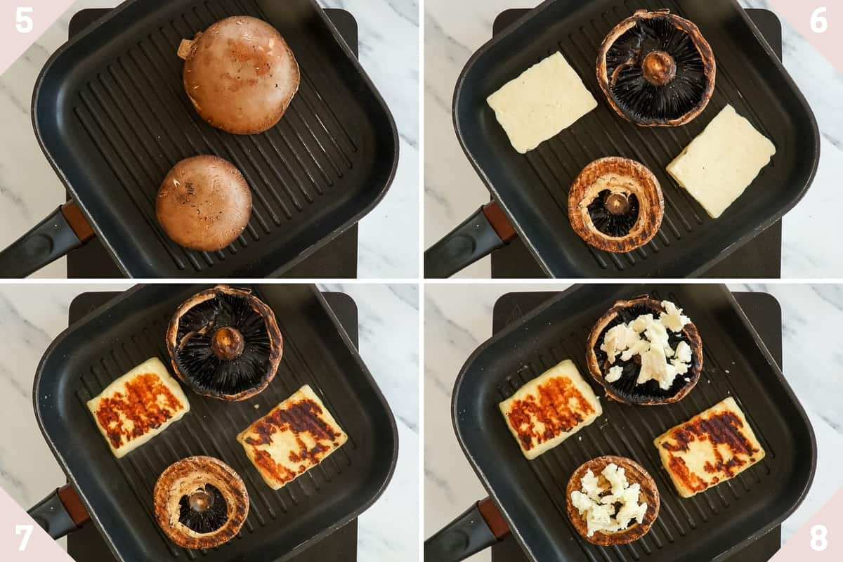 collage showing how to fry portobello mushrooms and halloumi