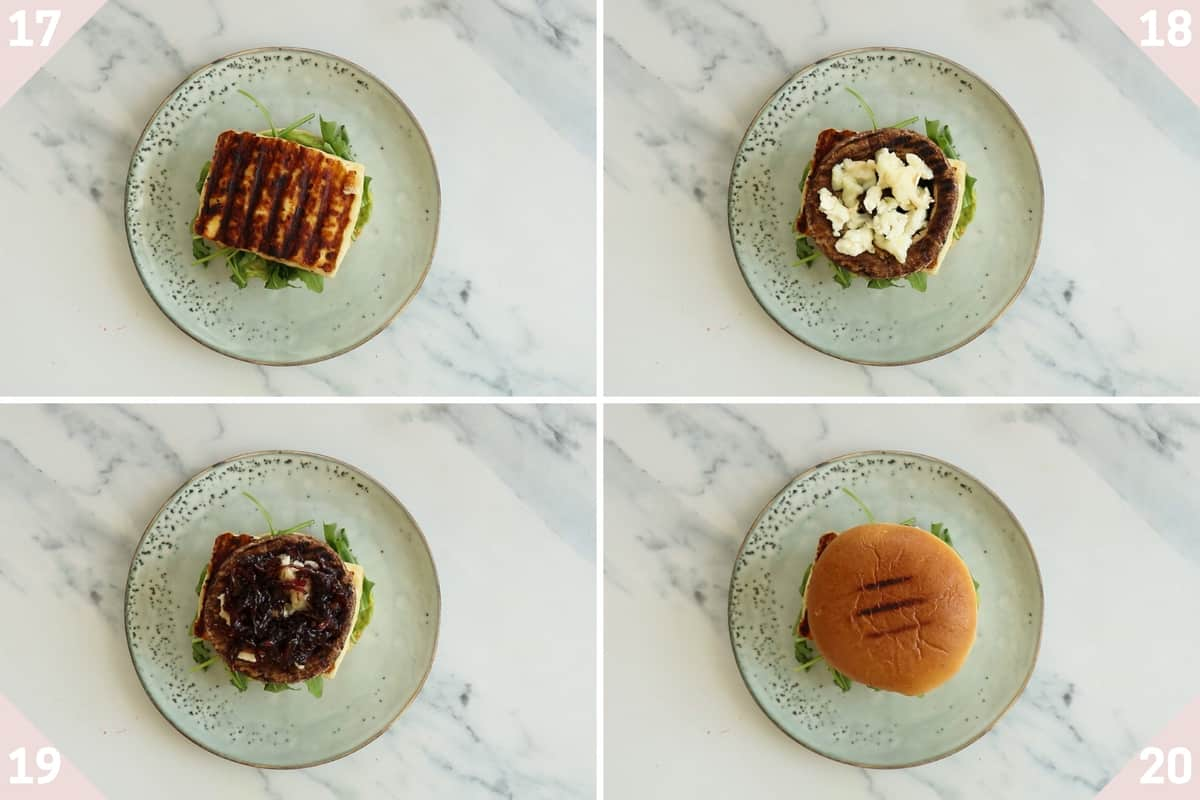 collage showing how to make halloumi burgers