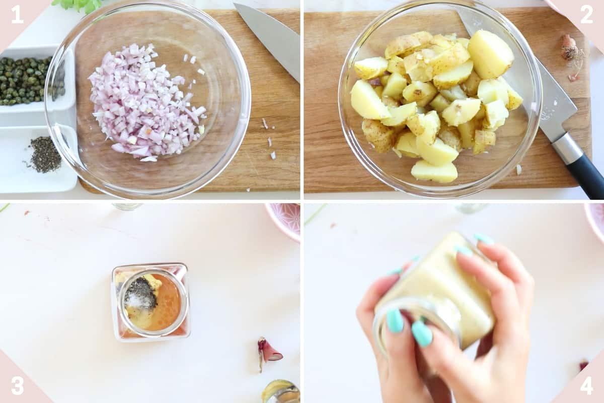 collage showing how to make vegan potato salad