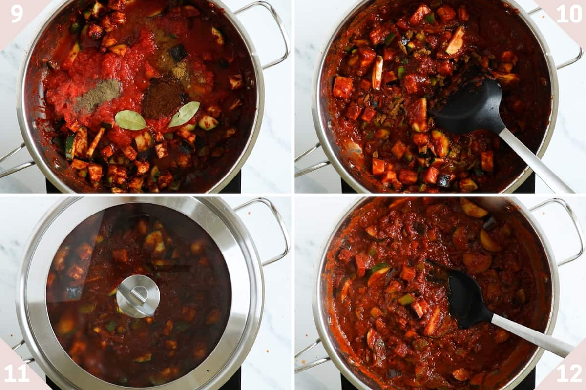 collage showing how to make vegetarian chili sin carne