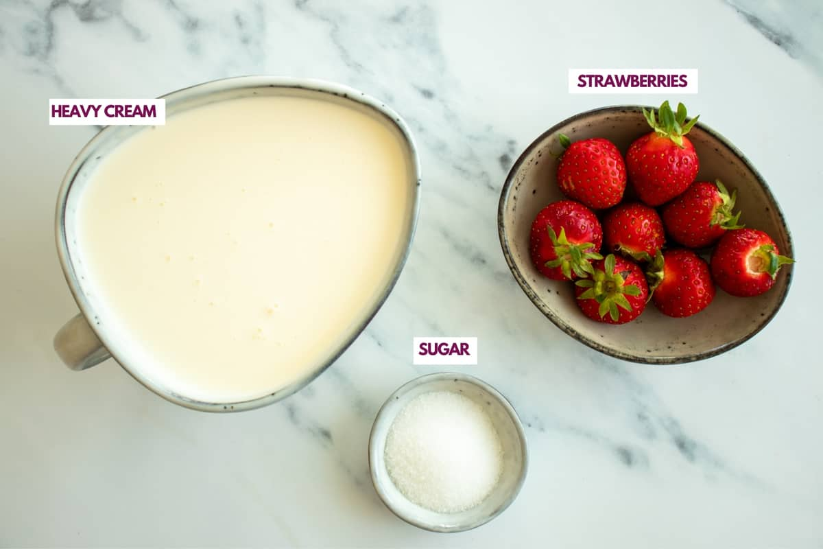 ingredients for strawberry whipped cream