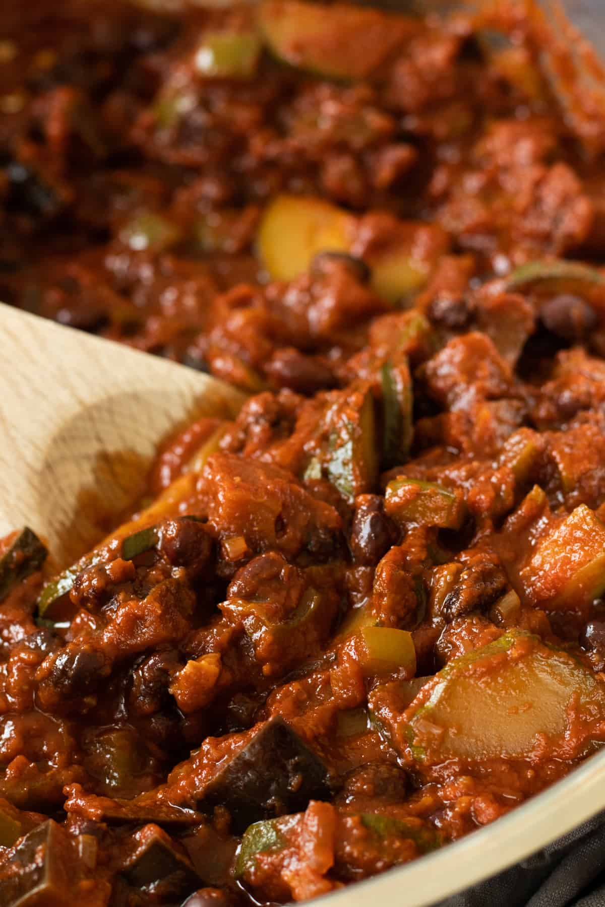 close-up of vegetarian chili sin carne
