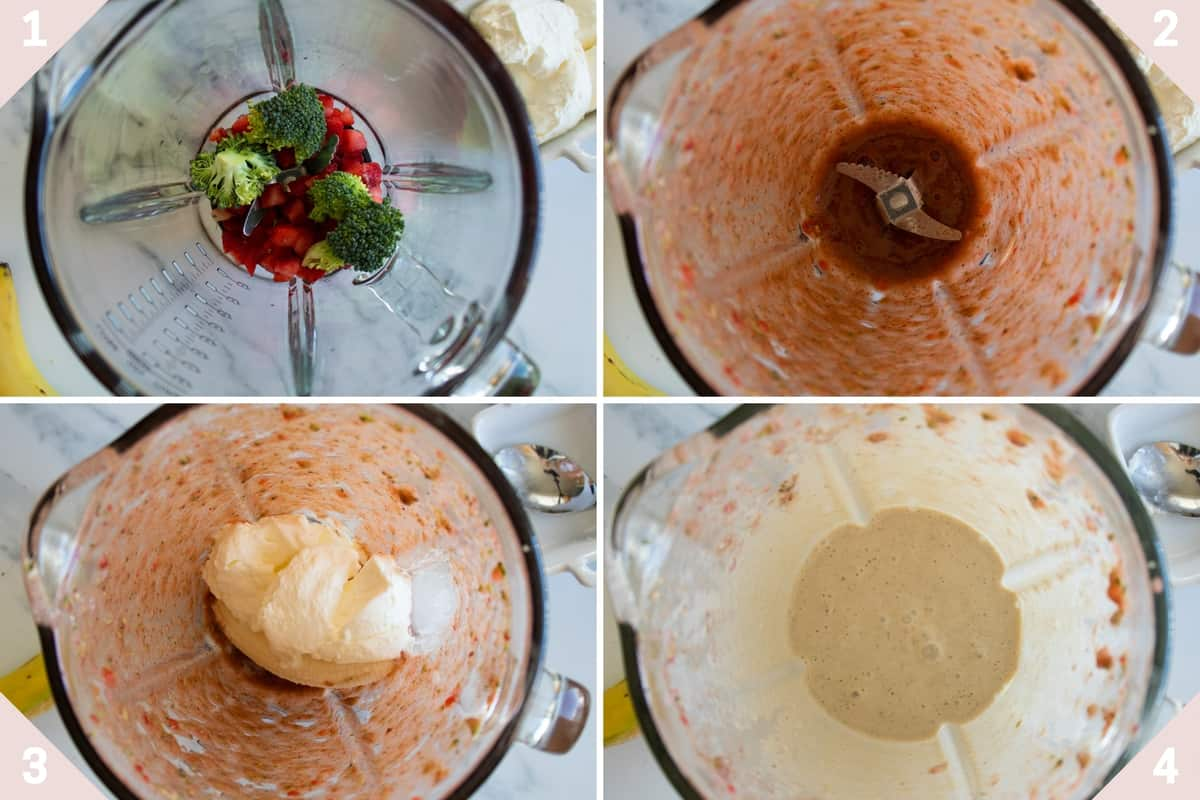 collage showing how to make a healthy strawberry banana smoothie