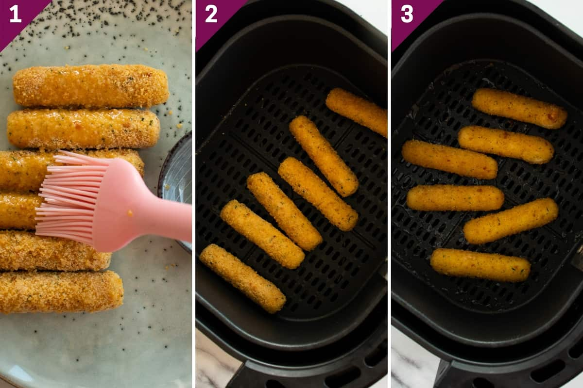 collage showing how to cook frozen mozzarella sticks in the air fryer
