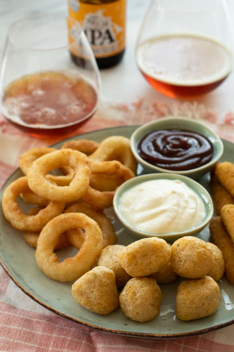 snack platter with air fried frozen appetizers