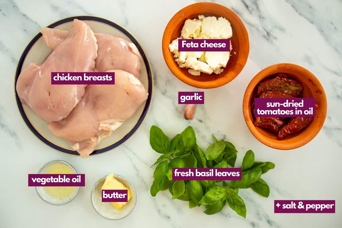 ingredients for feta stuffed chicken