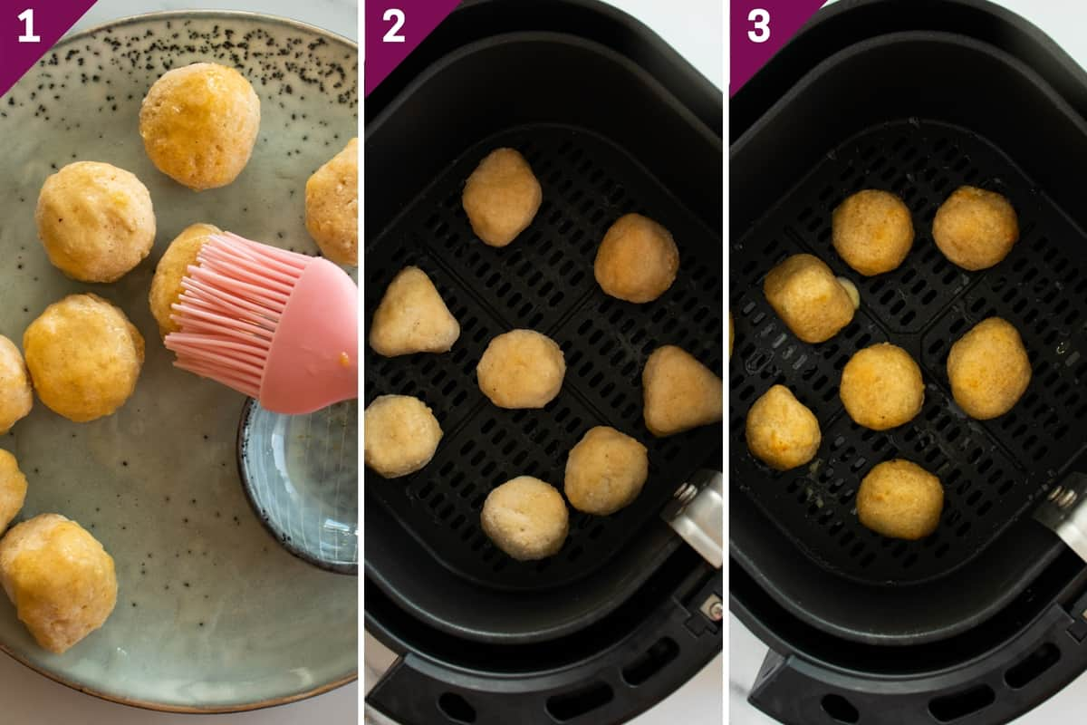 collage showing how to make chili cheese nuggets in air fryer