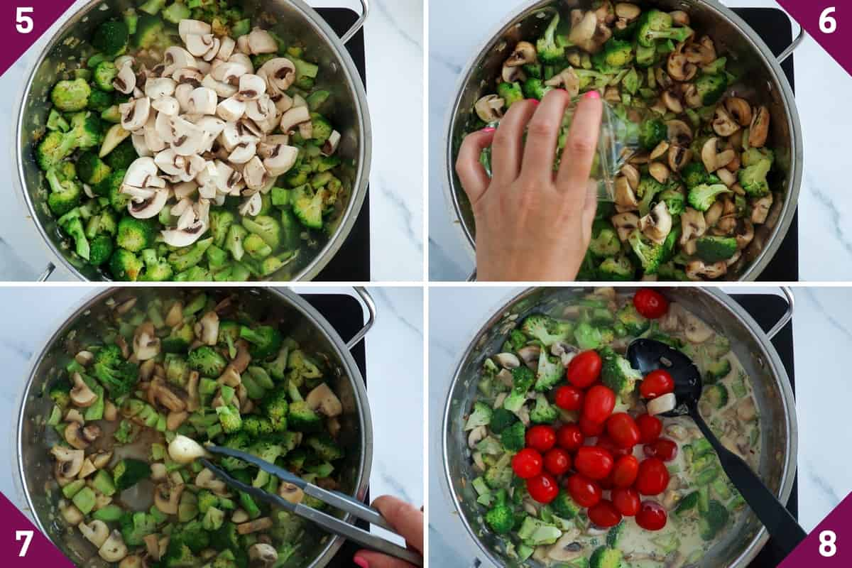 collage showing how to make creamy broccoli pasta