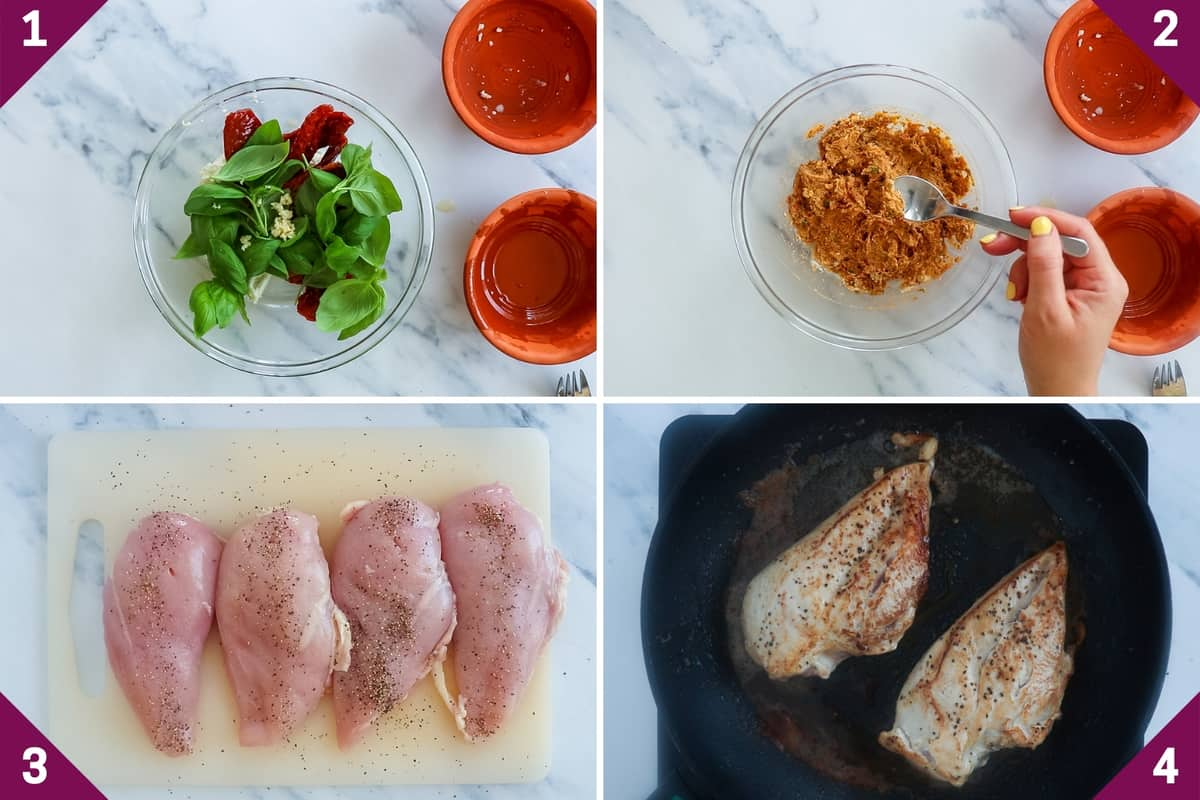 collage showing how to make feta stuffed chicken