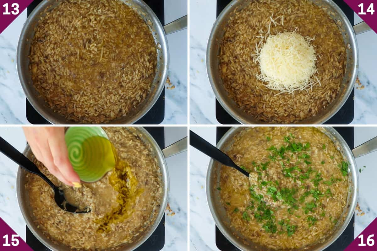 collage showing how to make mushroom truffle risotto