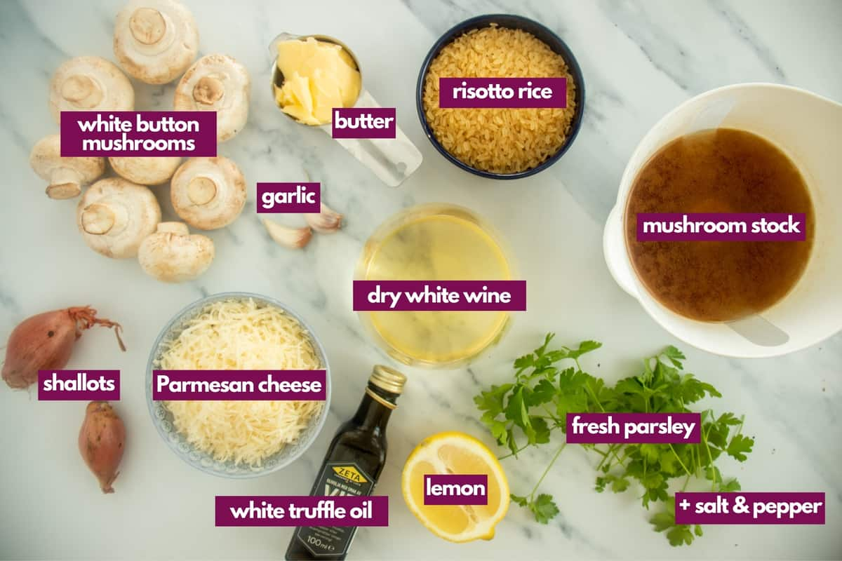 ingredients needed to make mushroom truffle risotto