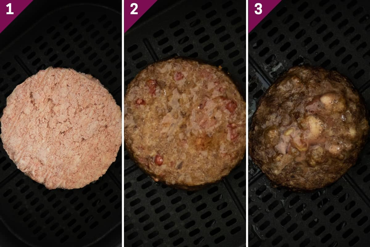 collage showing how to air fry frozen burgers