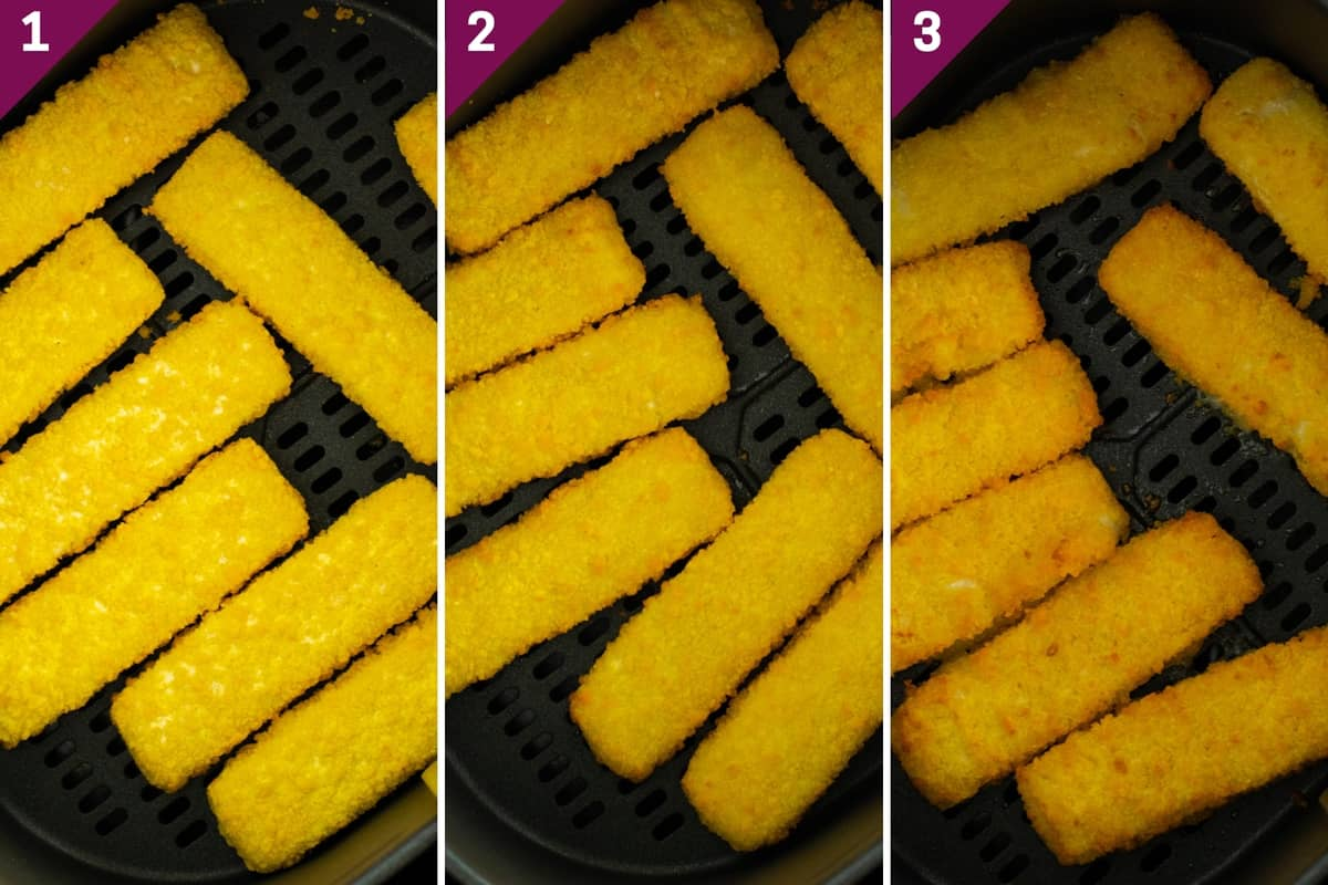 collage showing how to air fry frozen fish sticks