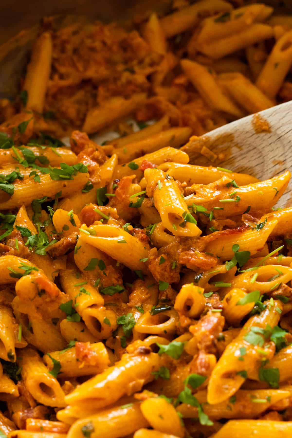 close up of pasta with pink sauce