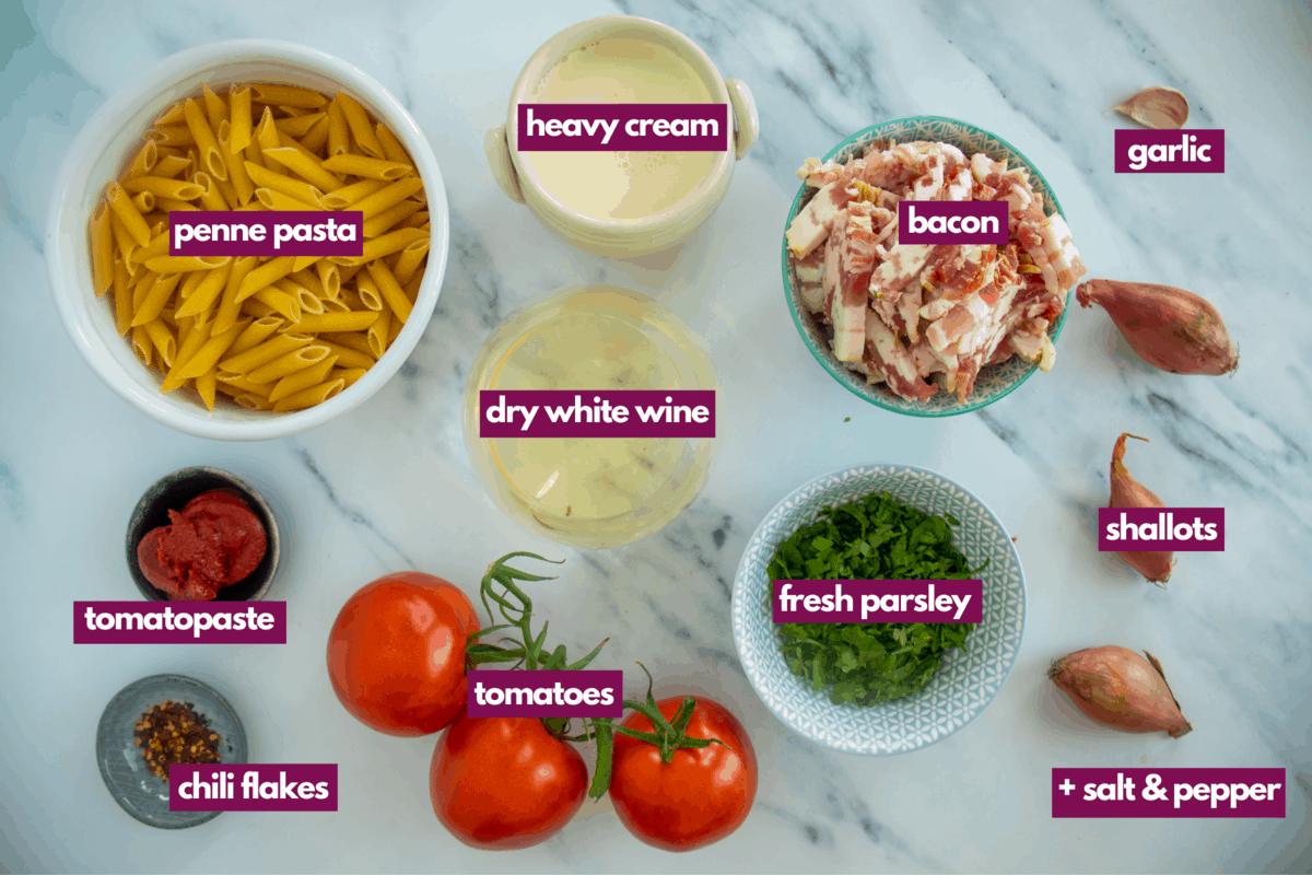 ingredients for pink pasta sauce