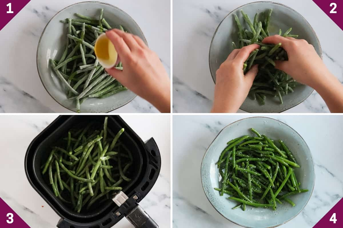 collage showing how to make air fryer frozen green beans