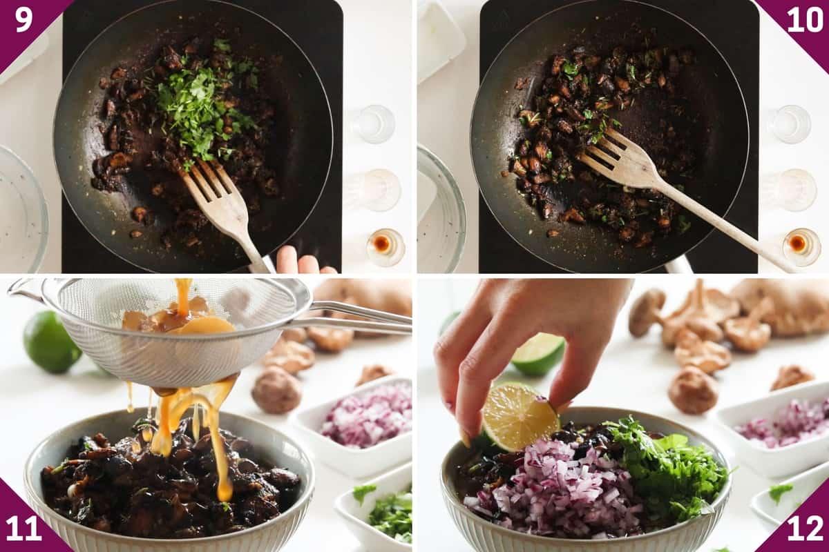 collage showing how to make mushroom ramen