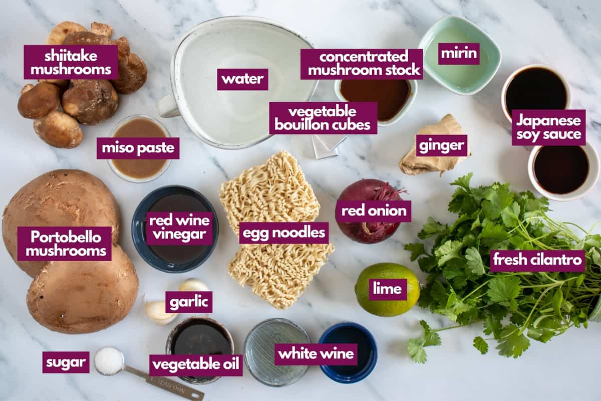 ingredients for mushroom ramen